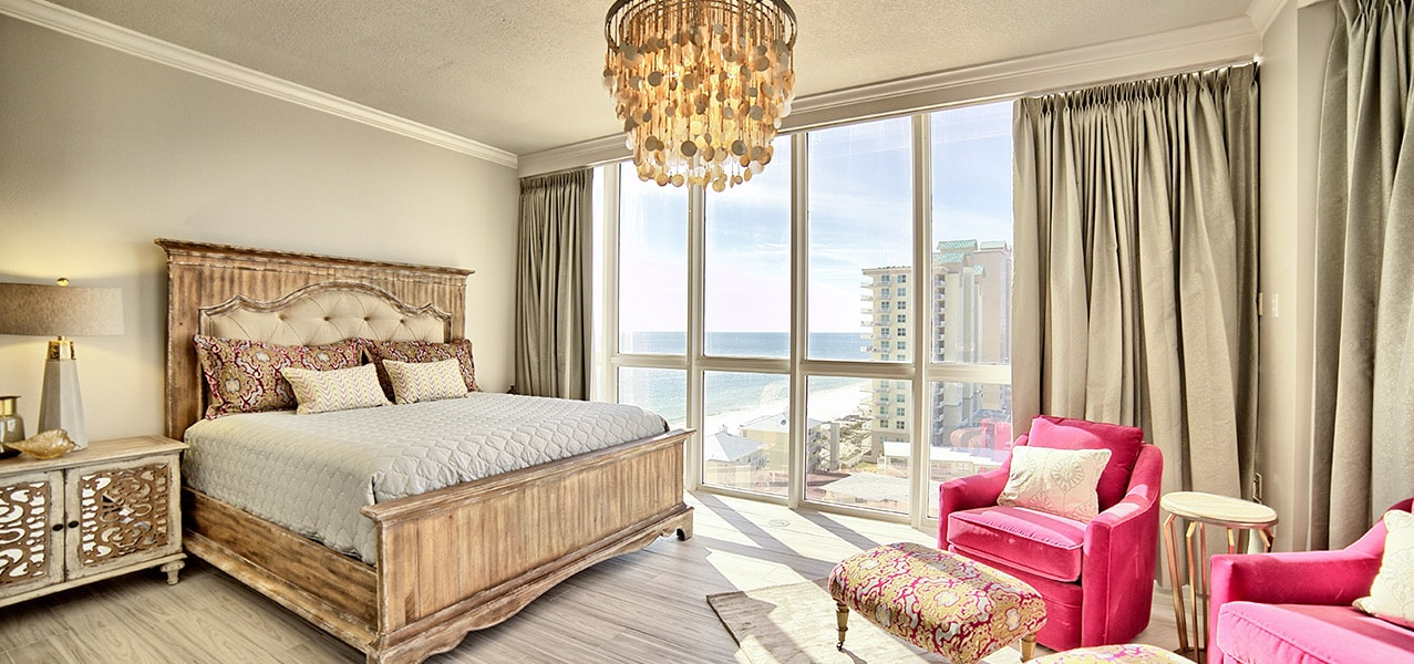 Sugar Beach Interiors, Miramar Beach, Florida. Elegant coastal bedroom